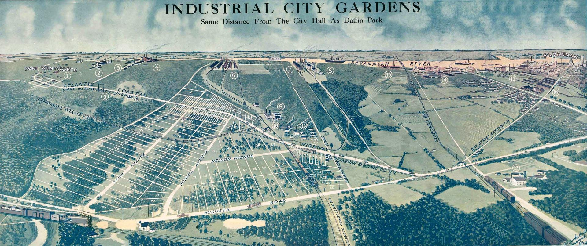 Industrial City Gardens brochure map